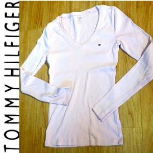 TOMMY HILFIGER PINK FITTED LONG SLEEVE SHIRT XS